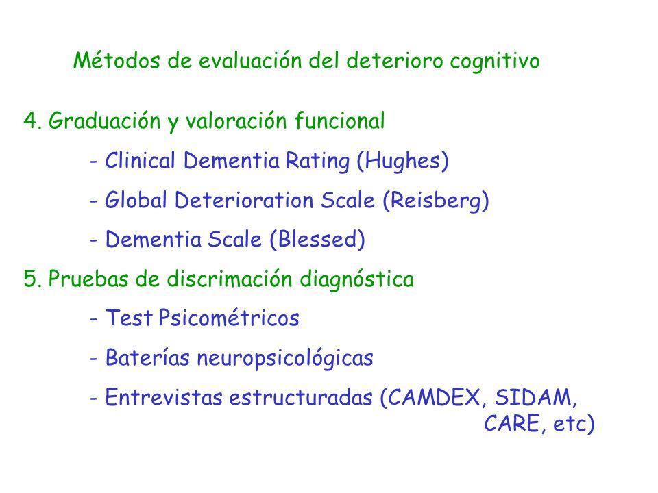 Métodos de evaluación del deterioro cognitivo 4. Graduación y valoración funcional - Clinical Dementia Rating (Hughes) - Global Deterioration Scale (R