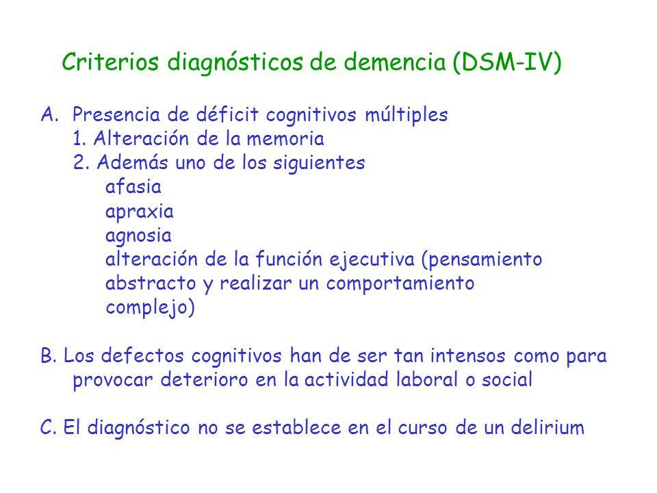 Criterios diagnósticos de demencia (DSM-IV) A.Presencia de déficit cognitivos múltiples 1. Alteración de la memoria 2. Además uno de los siguientes af
