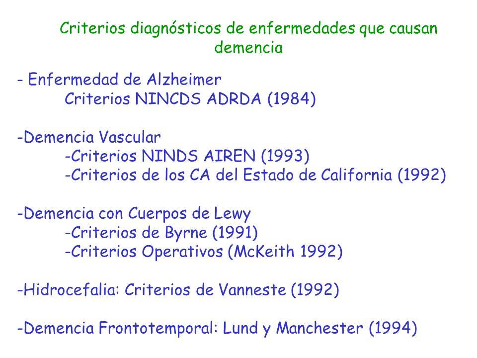 Criterios diagnósticos de enfermedades que causan demencia - Enfermedad de Alzheimer Criterios NINCDS ADRDA (1984) -Demencia Vascular -Criterios NINDS