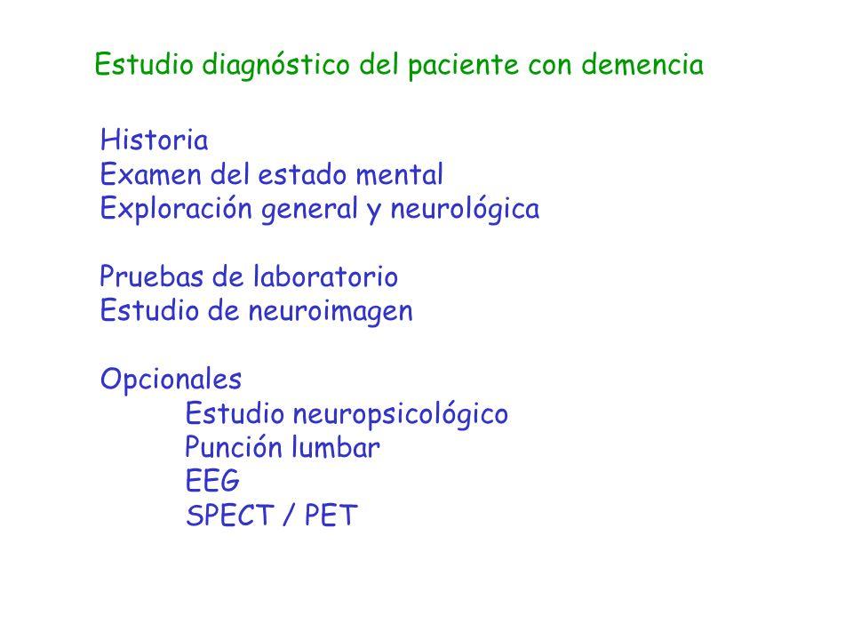 Estudio diagnóstico del paciente con demencia Historia Examen del estado mental Exploración general y neurológica Pruebas de laboratorio Estudio de ne