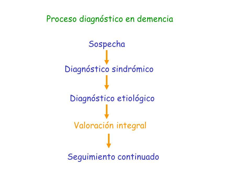 Demencia – Valoración Integral Depresión Déficit sensoriales Enfermedades acompañantes Factores de riesgo vascular Alteraciones del comportamiento Insomnio Infecciones Síndromes geriátricos: Inmovilidad Caídas Incontinencia Desnutrición Úlceras por presión Impactación fecal