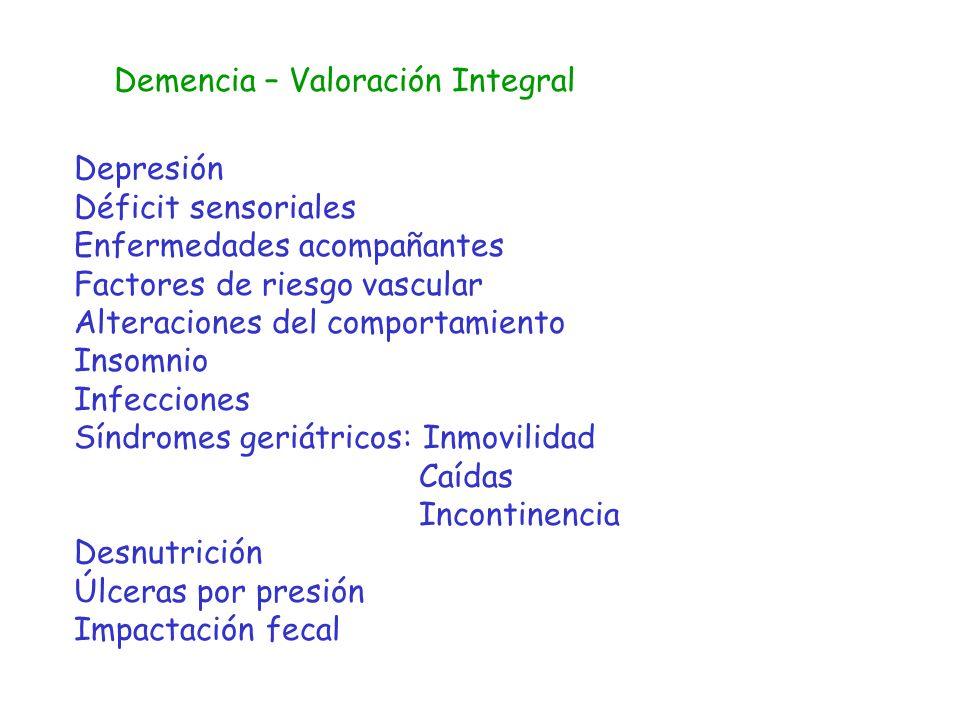 Demencia – Valoración Integral Depresión Déficit sensoriales Enfermedades acompañantes Factores de riesgo vascular Alteraciones del comportamiento Ins