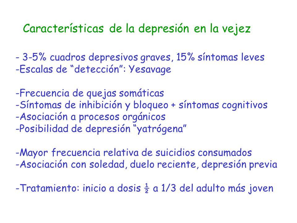 Características de la depresión en la vejez - 3-5% cuadros depresivos graves, 15% síntomas leves -Escalas de detección: Yesavage -Frecuencia de quejas