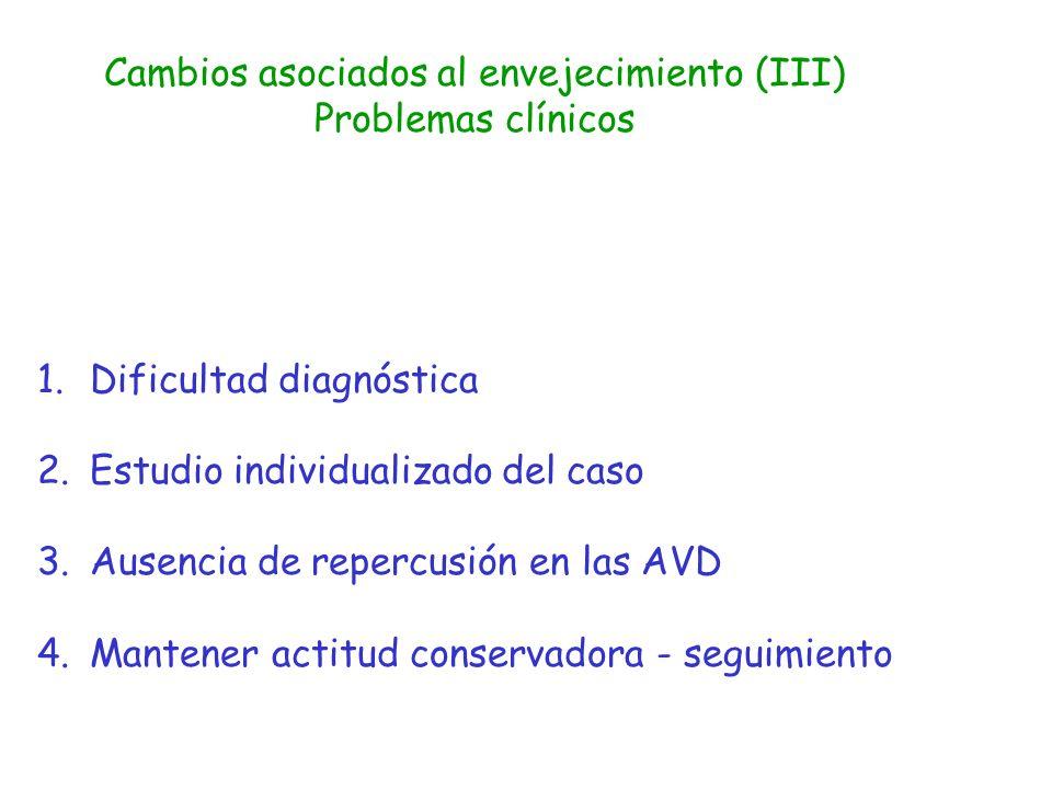 Cambios asociados al envejecimiento (III) Problemas clínicos 1.Dificultad diagnóstica 2.Estudio individualizado del caso 3.Ausencia de repercusión en
