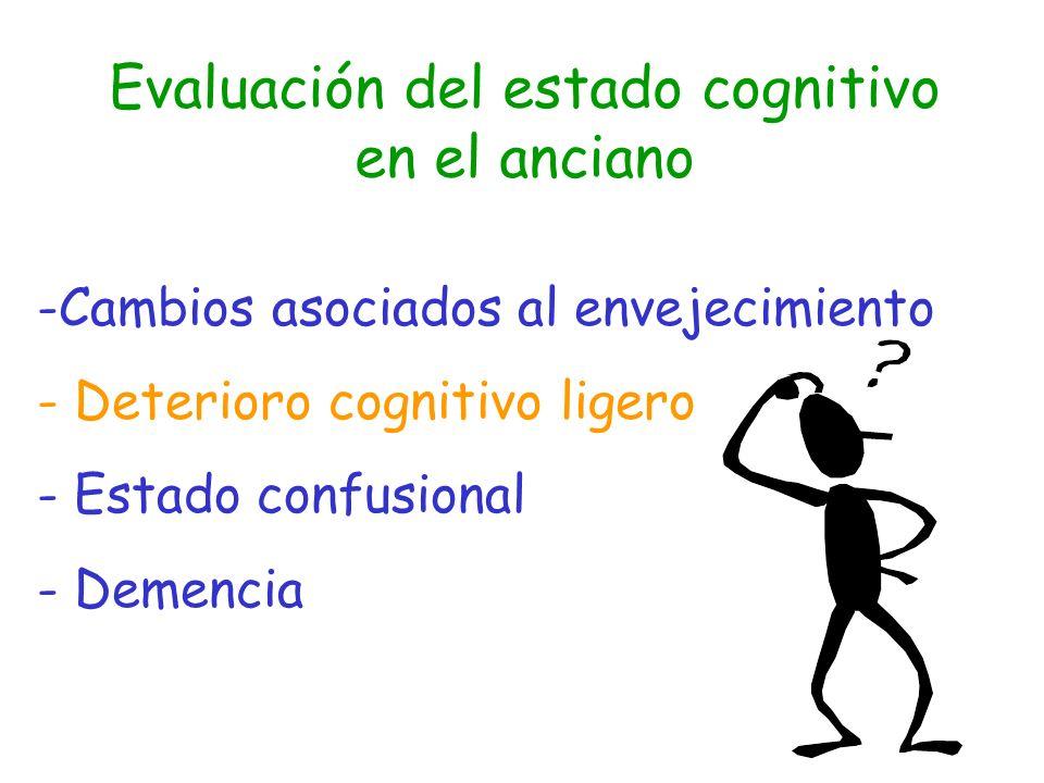 Criterios diagnósticos de deterioro cognitivo asociado a la edad (DSM IV) A.Deterioro de la actividad cognitiva, demostrable objetivamente, a consecuencia de la edad y dentro de los límites normales de esa edad.