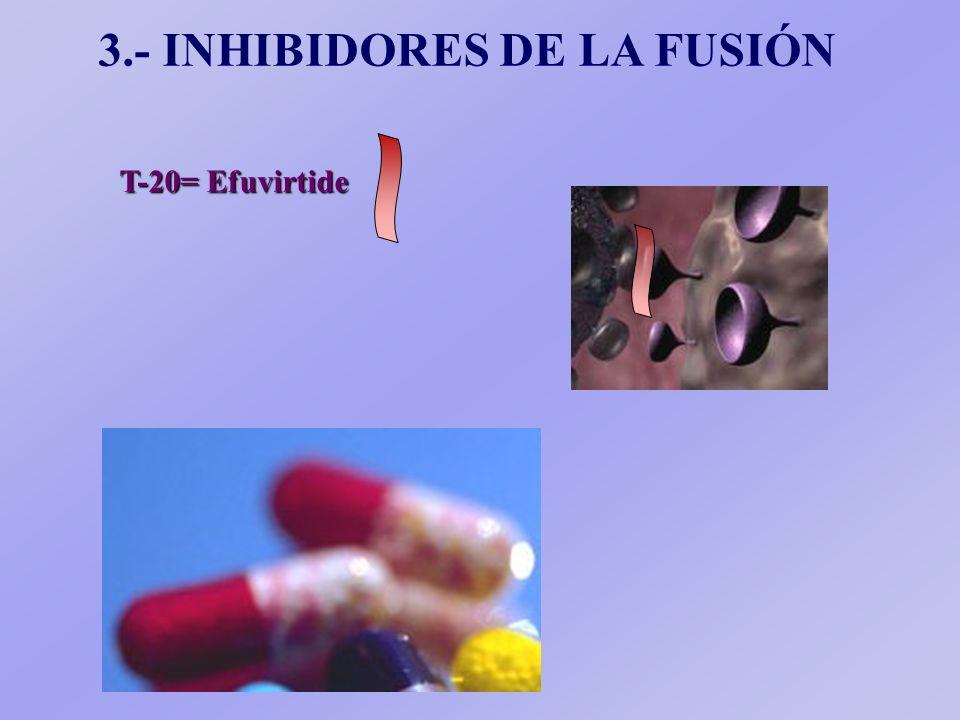 T-20= Efuvirtide 3.- INHIBIDORES DE LA FUSIÓN