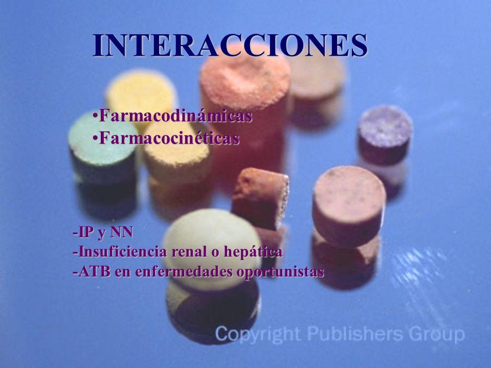 INTERACCIONES FarmacodinámicasFarmacodinámicas FarmacocinéticasFarmacocinéticas -IP y NN -Insuficiencia renal o hepática -ATB en enfermedades oportunistas