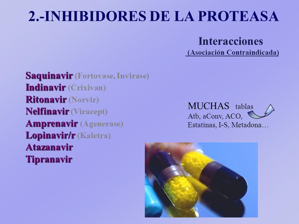 Saquinavir Saquinavir (Fortovase, Invirase) Indinavir Indinavir (Crixivan) Ritonavir Ritonavir (Norvir) Nelfinavir Nelfinavir (Viracept) Amprenavir Amprenavir (Agenerase) Lopinavir/r Lopinavir/r (Kaletra)AtazanavirTipranavir 2.-INHIBIDORES DE LA PROTEASA Interacciones (Asociación Contraindicada) MUCHAS tablas Atb, aConv, ACO, Estatinas, I-S, Metadona…