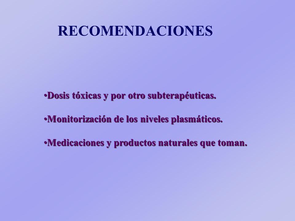 RECOMENDACIONES Dosis tóxicas y por otro subterapéuticas.Dosis tóxicas y por otro subterapéuticas.