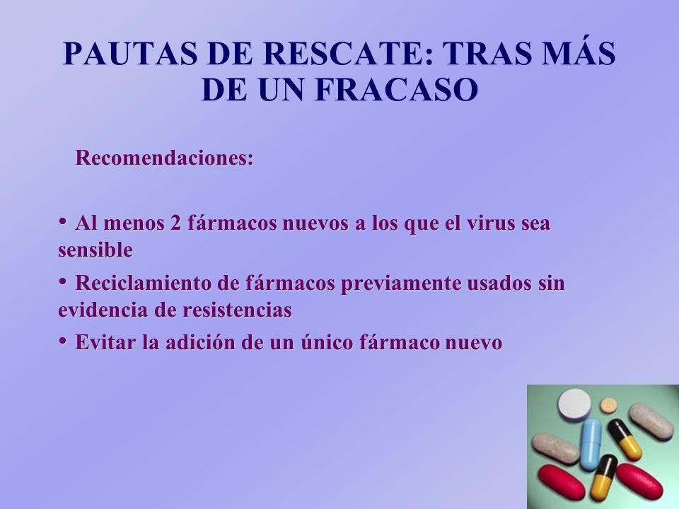 PAUTAS DE TRATAMIENTO TRAS PRIMER FRACASO (4) 4. Paciente con 2 AN + 1 IP: Fracaso relacionado con potencia antiviral, con potencia antiviral, farmaco