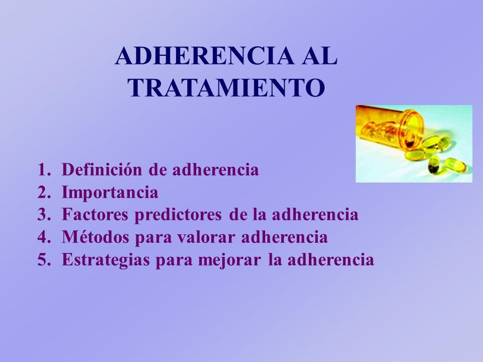 ADHERENCIA AL TRATAMIENTO 1.1.Definición de adherencia 2.