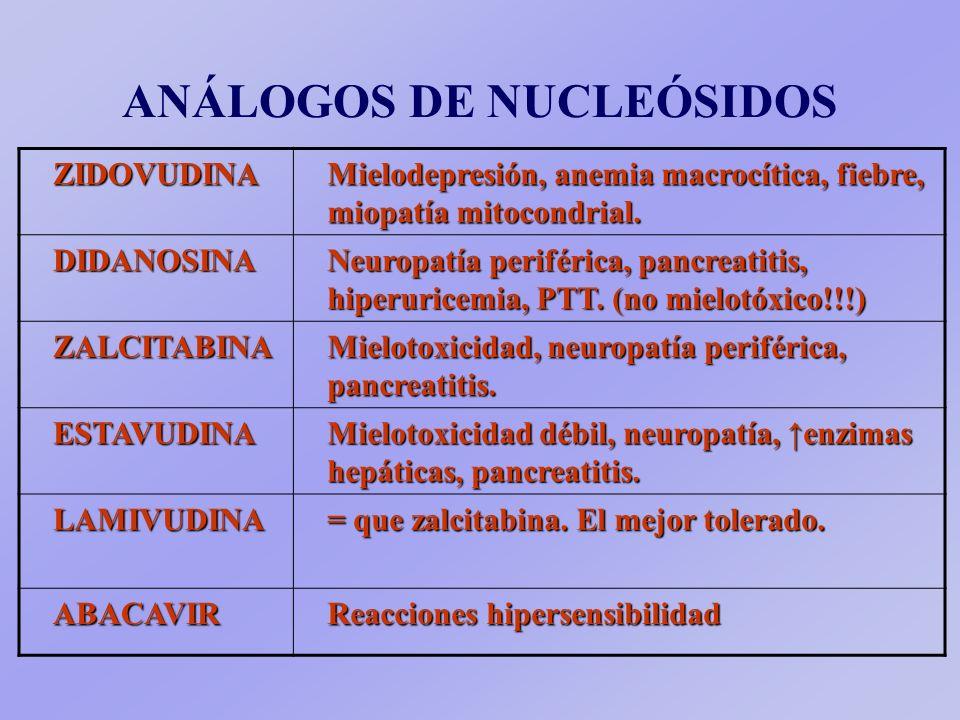 ANÁLOGOS DE NUCLEÓSIDOSZIDOVUDINA Mielodepresión, anemia macrocítica, fiebre, miopatía mitocondrial.