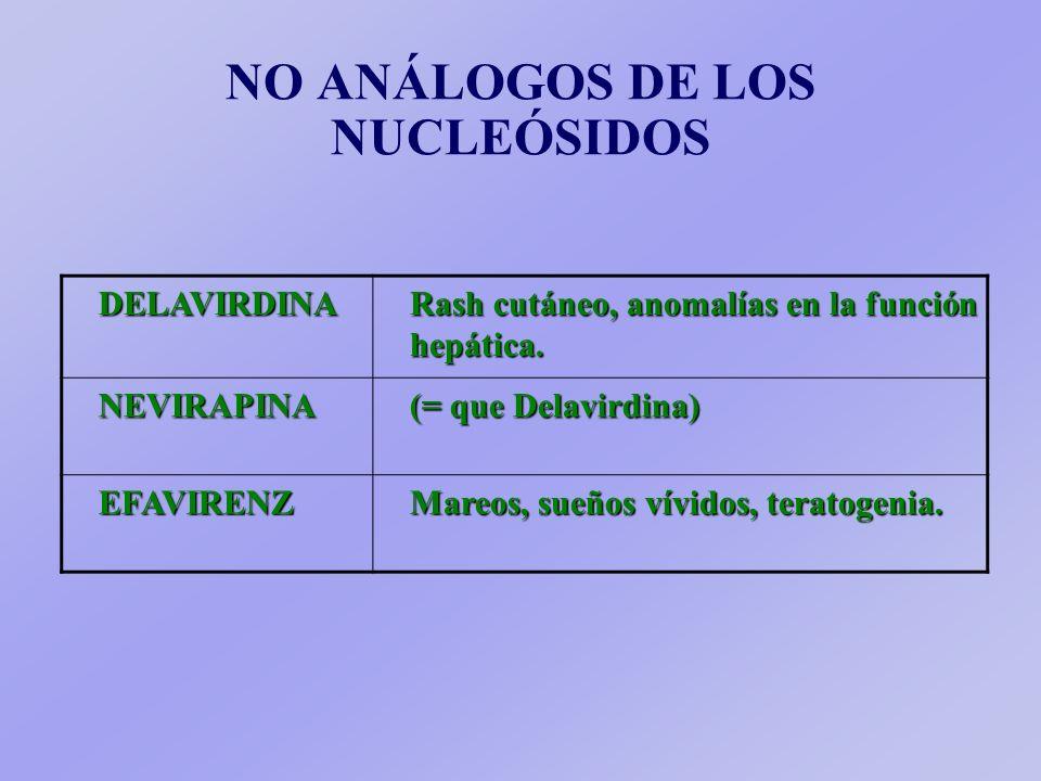 ANÁLOGOS DE NUCLEÓSIDOSZIDOVUDINA Mielodepresión, anemia macrocítica, fiebre, miopatía mitocondrial. DIDANOSINA Neuropatía periférica, pancreatitis, h