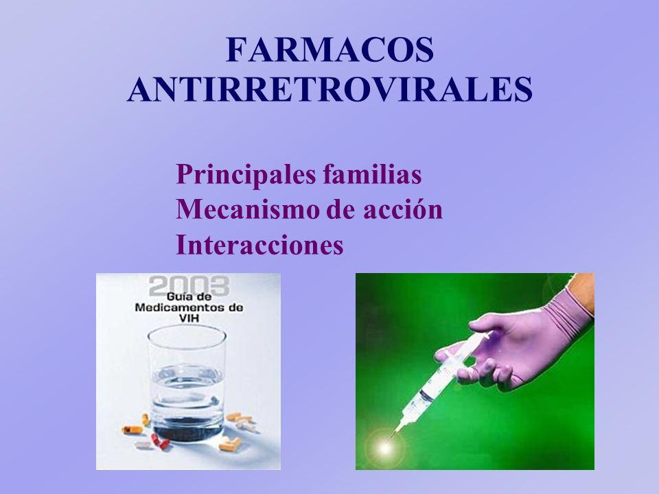 FARMACOS ANTIRRETROVIRALES Principales familias Mecanismo de acción Interacciones