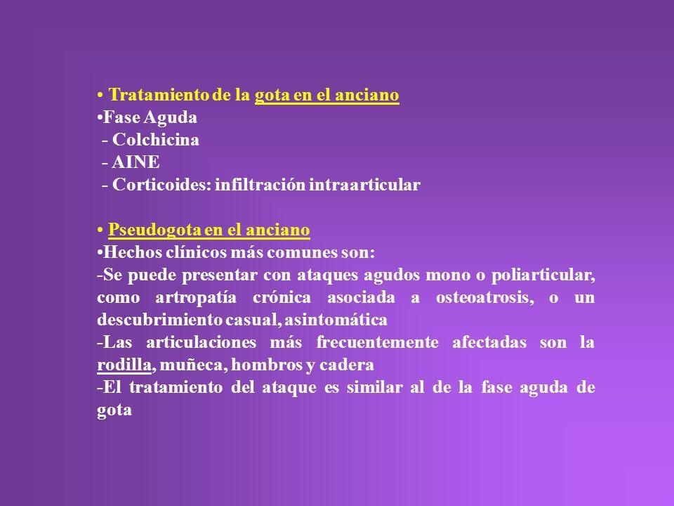 Tratamiento de la gota en el anciano Fase Aguda - Colchicina - AINE - Corticoides: infiltración intraarticular Pseudogota en el anciano Hechos clínico