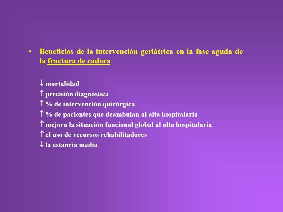 Beneficios de la intervención geriátrica en la fase aguda de la fractura de cadera mortalidad precisión diagnóstica % de intervención quirúrgica % de
