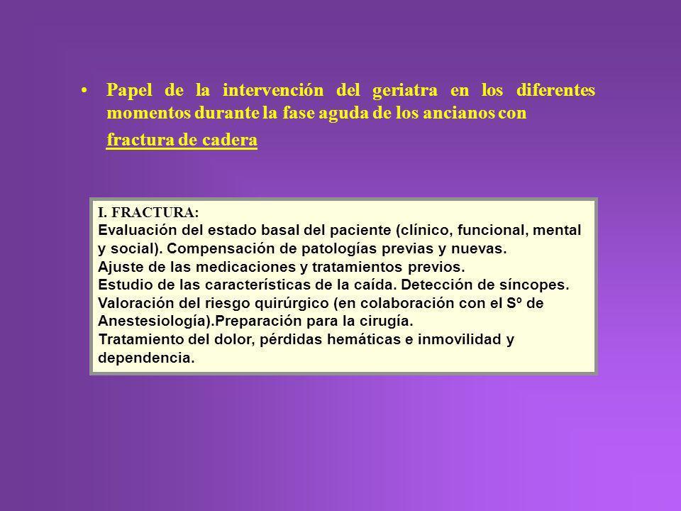 Papel de la intervención del geriatra en los diferentes momentos durante la fase aguda de los ancianos con fractura de cadera I. FRACTURA: Evaluación