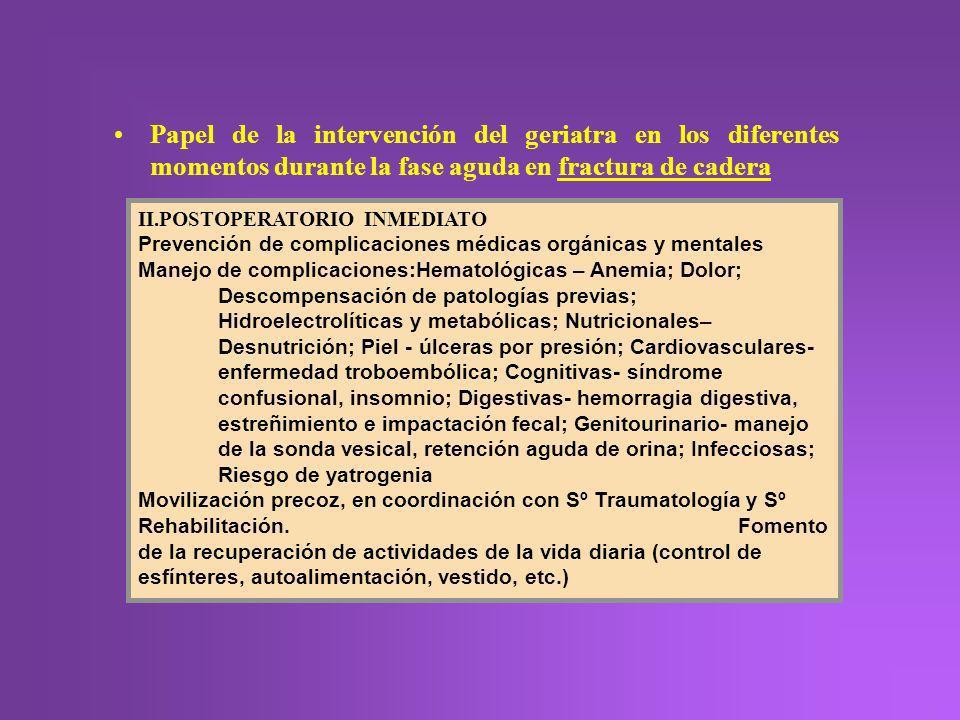 Papel de la intervención del geriatra en los diferentes momentos durante la fase aguda en fractura de cadera II.POSTOPERATORIO INMEDIATO Prevención de