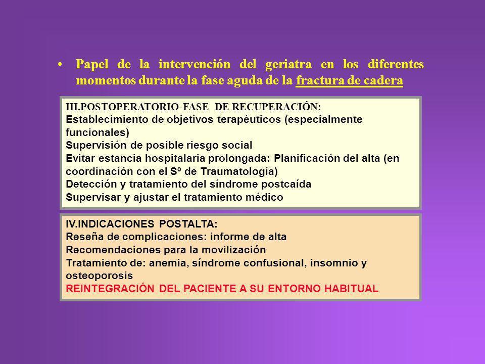 Papel de la intervención del geriatra en los diferentes momentos durante la fase aguda de la fractura de cadera III.POSTOPERATORIO-FASE DE RECUPERACIÓ