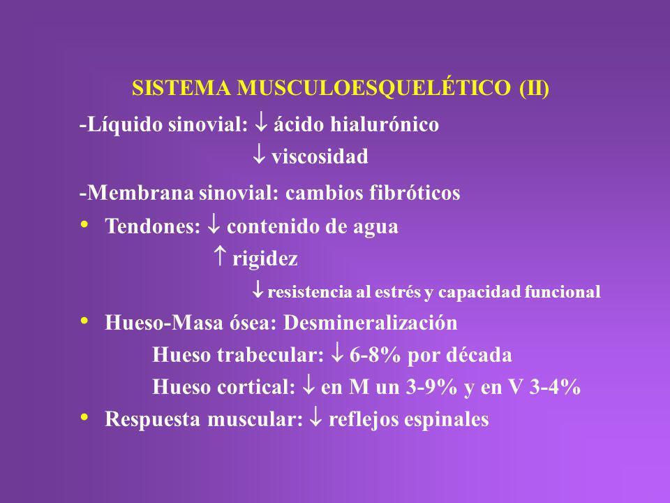SISTEMA MUSCULOESQUELÉTICO (II) -Líquido sinovial: ácido hialurónico viscosidad -Membrana sinovial: cambios fibróticos Tendones: contenido de agua rig