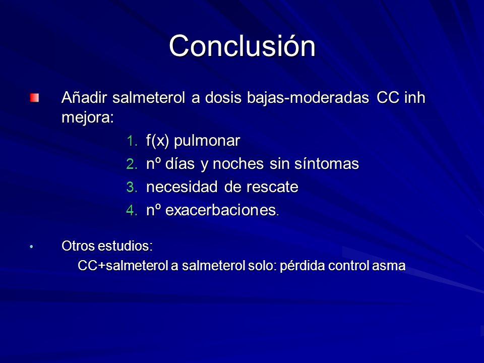 Conclusión Añadir salmeterol a dosis bajas-moderadas CC inh mejora: 1. f(x) pulmonar 2. nº días y noches sin síntomas 3. necesidad de rescate 4. nº ex
