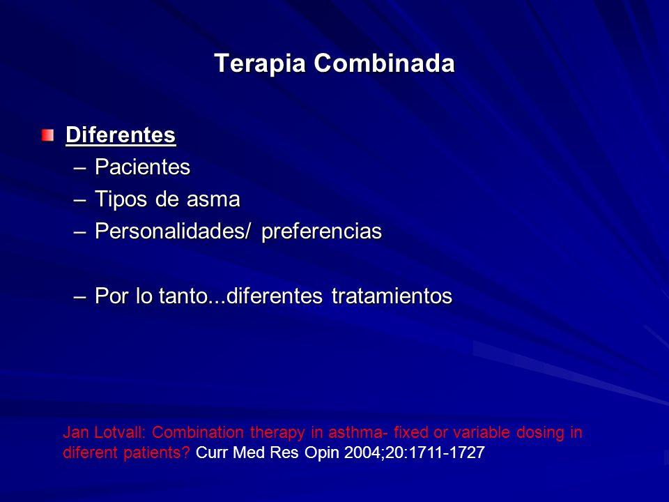 Terapia Combinada Diferentes –Pacientes –Tipos de asma –Personalidades/ preferencias –Por lo tanto...diferentes tratamientos Jan Lotvall: Combination