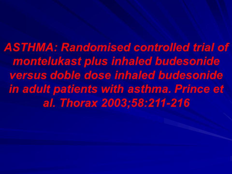 ASTHMA: Randomised controlled trial of montelukast plus inhaled budesonide versus doble dose inhaled budesonide in adult patients with asthma. Prince