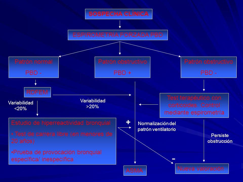 SOSPECHA CLÍNICA ESPIROMETRÍA FORZADA PBD Patrón normal PBD - Patrón obstructivo PBD + Patrón obstructivo PBD - RDFEM Estudio de hiperreactividad bron