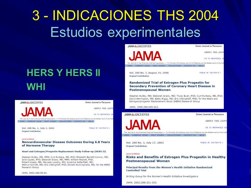 ESTUDIO HERS Randomized trial of estrogen plus progestin for secondary prevention of coronary hearts disease in postmenopausal women; JAMA 1998; 280:605- 613 Noncardiovascular disease outcomes during 6.8 years of hormone therapy (HERS II); JAMA 2002; 288:58-64 Ensayo clínico aleatorizado y doble ciego 2.763 mujeres posmenopáusicas menores de 80 años (media = 66,7) Antecedentes de cardiopatía isquémica Duración: 6,8 años (4,1 HERS y 2,7 HERS II) Conjugado de estrógeno (0.625 mg/día) + Medroxiprogesterona acetato (2,5 mg/día)