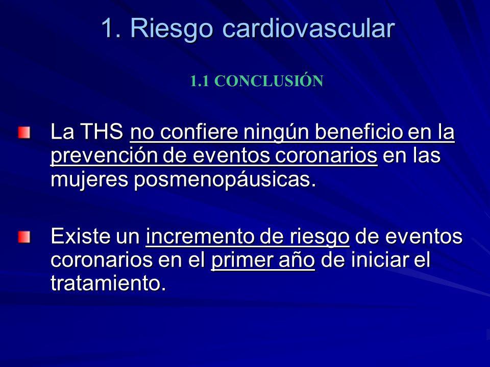 1. Riesgo cardiovascular 1.1 CONCLUSIÓN La THS no confiere ningún beneficio en la prevención de eventos coronarios en las mujeres posmenopáusicas. Exi