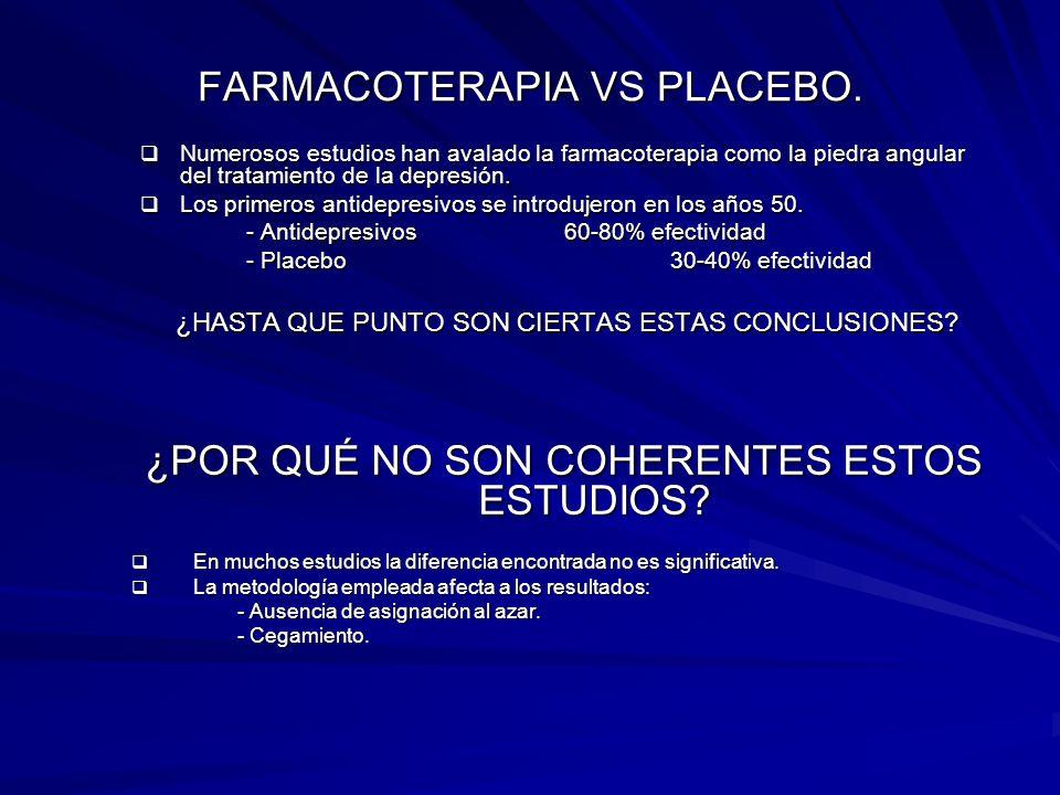 FARMACOTERAPIA VS PLACEBO. Numerosos estudios han avalado la farmacoterapia como la piedra angular del tratamiento de la depresión. Numerosos estudios