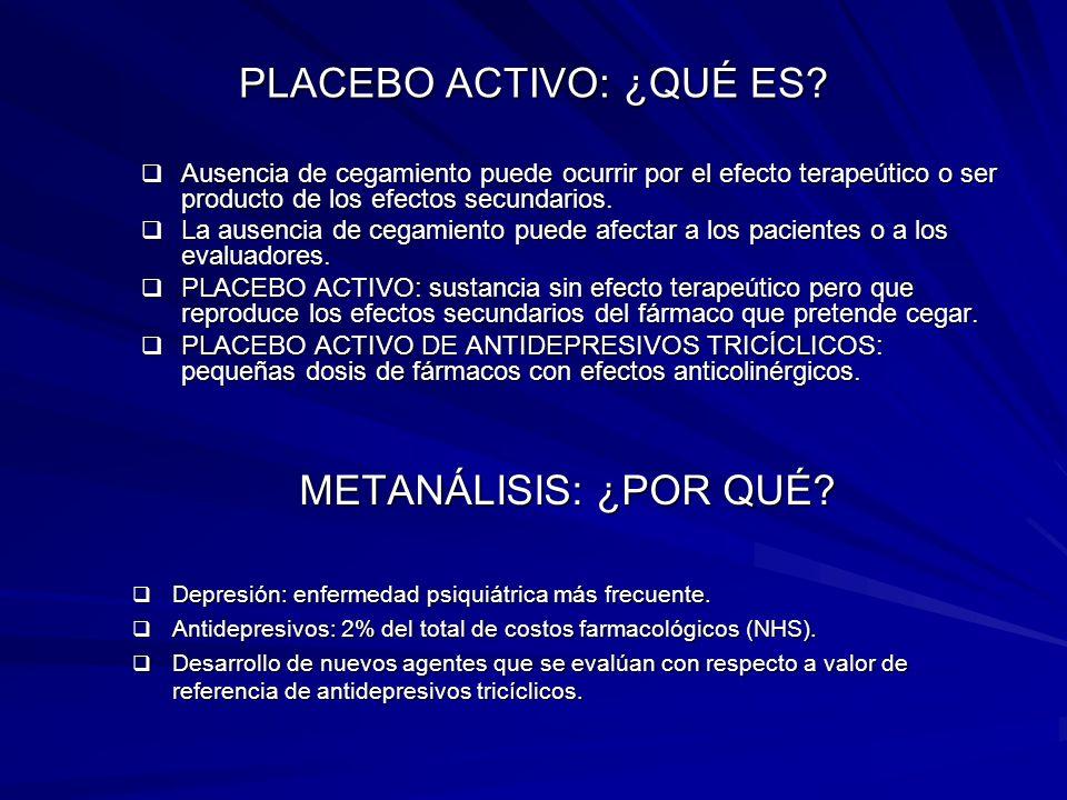 PLACEBO ACTIVO: ¿QUÉ ES? Ausencia de cegamiento puede ocurrir por el efecto terapeútico o ser producto de los efectos secundarios. Ausencia de cegamie