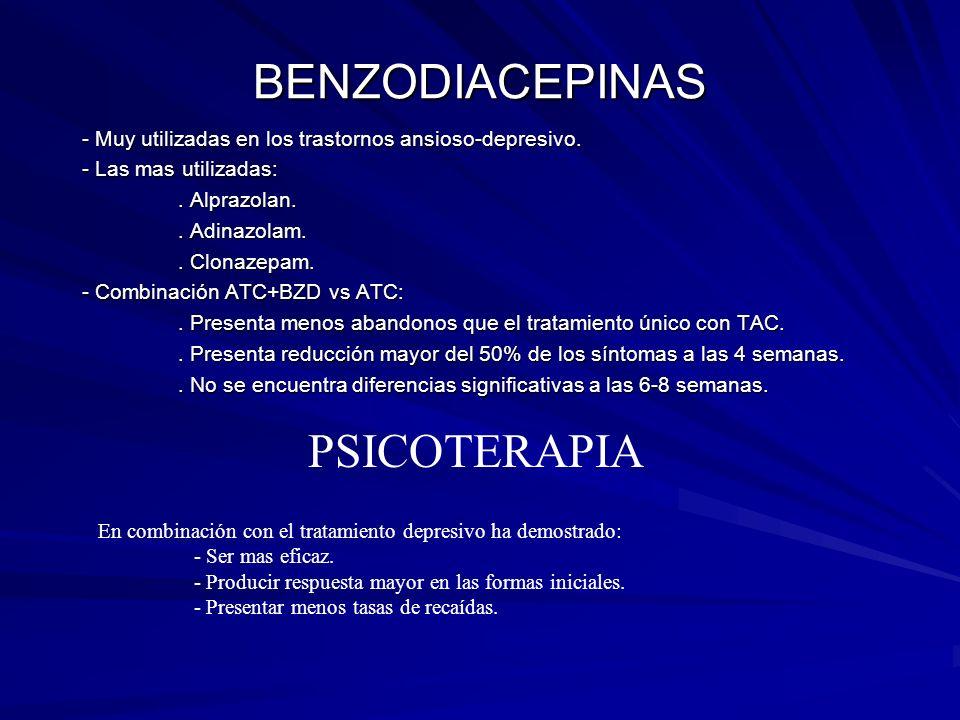 BENZODIACEPINAS - Muy utilizadas en los trastornos ansioso-depresivo. - Las mas utilizadas:. Alprazolan.. Adinazolam.. Clonazepam. - Combinación ATC+B