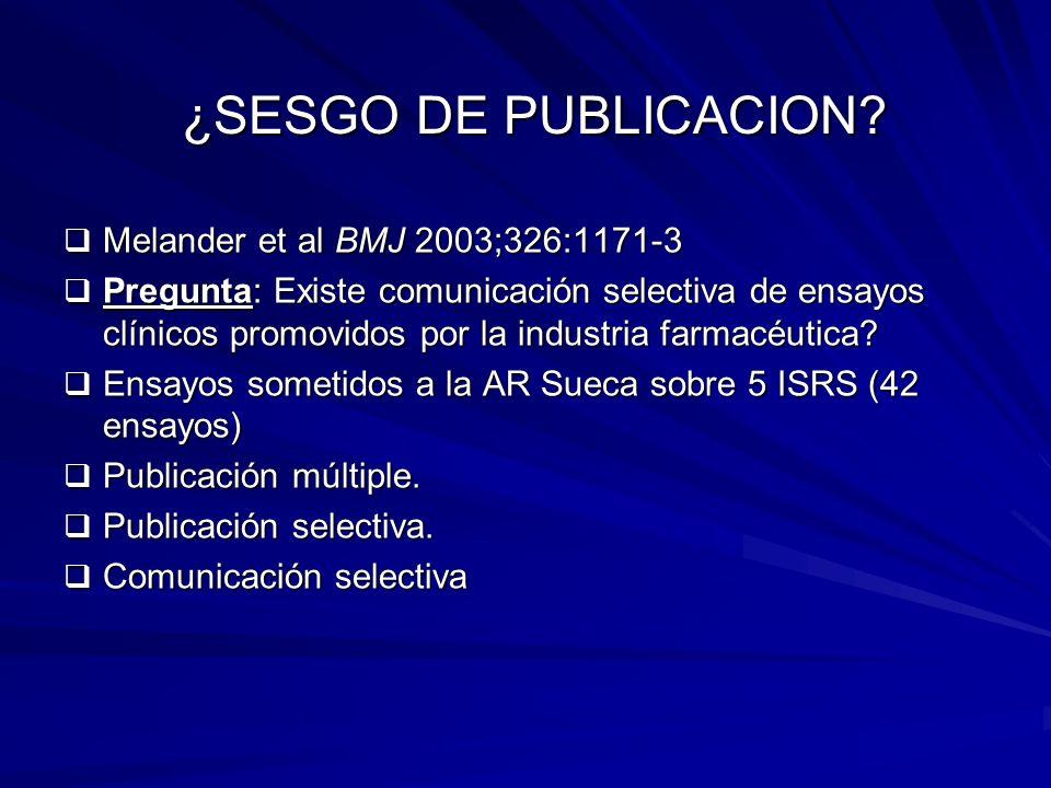 ¿SESGO DE PUBLICACION? ¿SESGO DE PUBLICACION? Melander et al BMJ 2003;326:1171-3 Melander et al BMJ 2003;326:1171-3 Pregunta: Existe comunicación sele