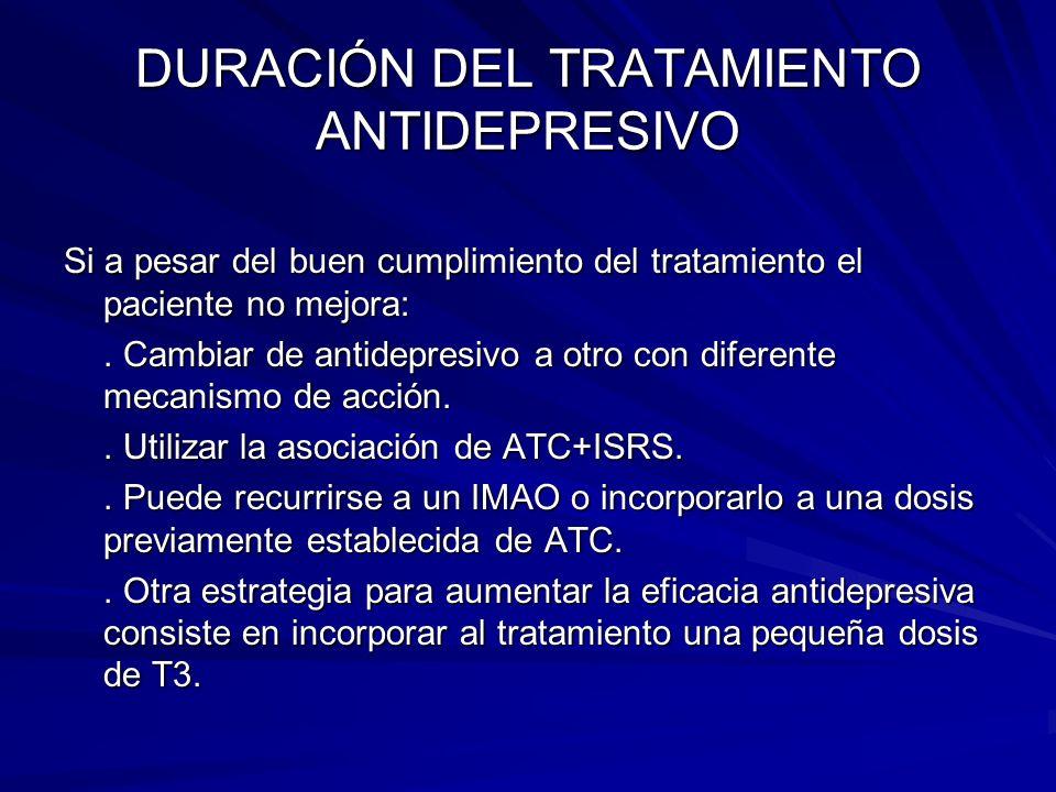 DURACIÓN DEL TRATAMIENTO ANTIDEPRESIVO Si a pesar del buen cumplimiento del tratamiento el paciente no mejora:. Cambiar de antidepresivo a otro con di