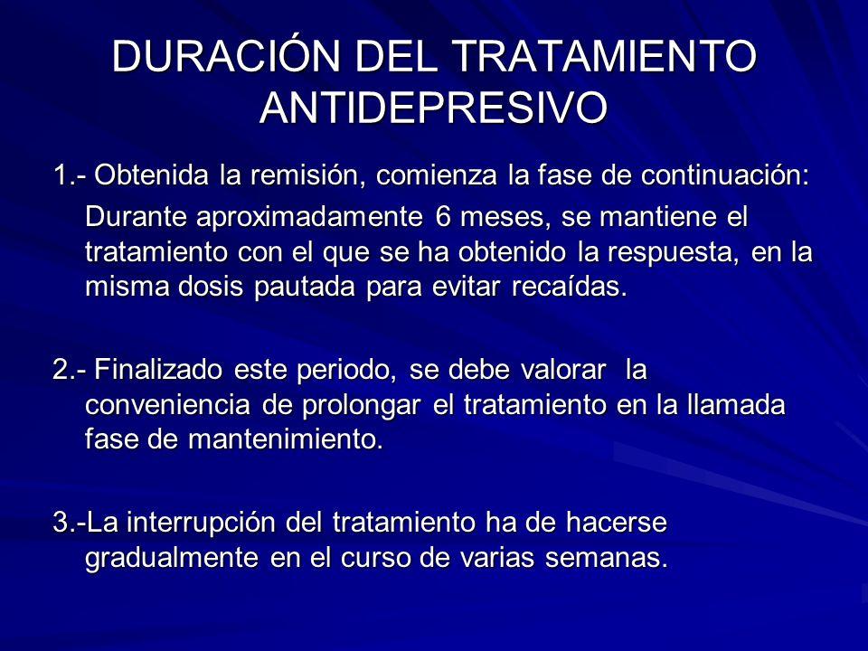 DURACIÓN DEL TRATAMIENTO ANTIDEPRESIVO 1.- Obtenida la remisión, comienza la fase de continuación: Durante aproximadamente 6 meses, se mantiene el tra