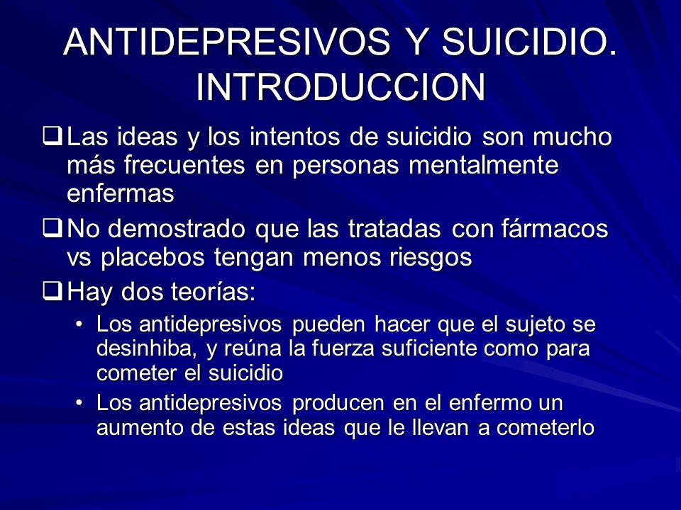 ANTIDEPRESIVOS Y SUICIDIO. INTRODUCCION Las ideas y los intentos de suicidio son mucho más frecuentes en personas mentalmente enfermas Las ideas y los