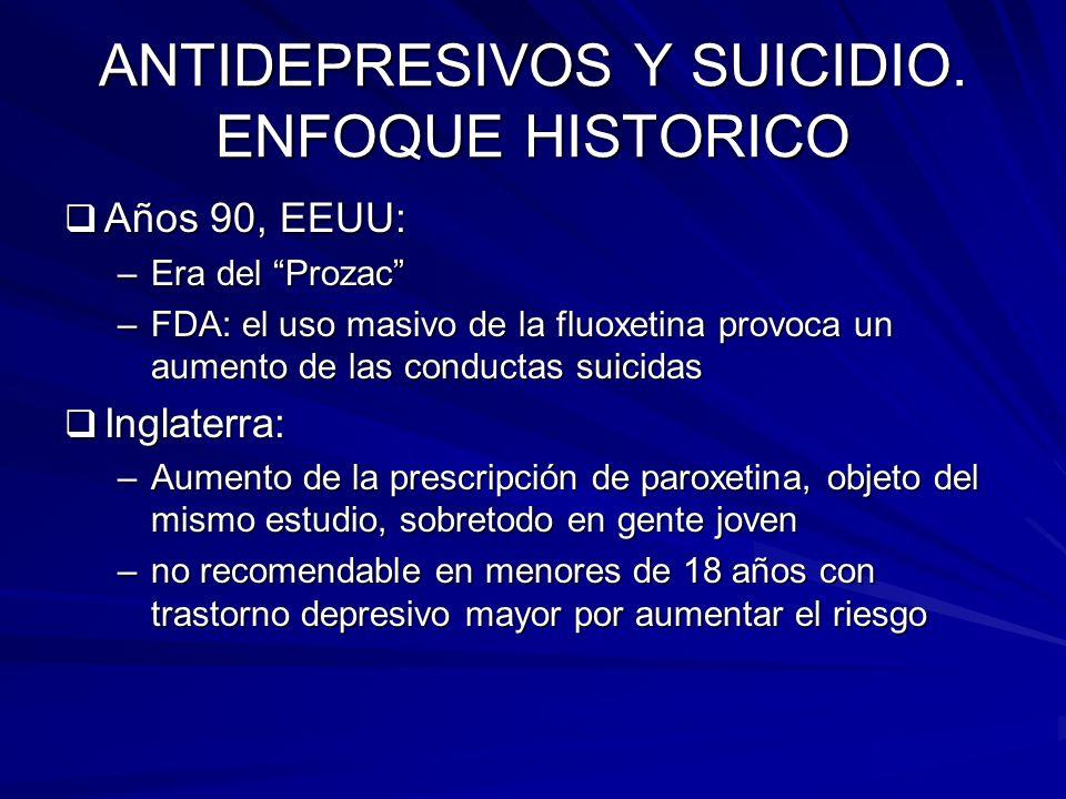 ANTIDEPRESIVOS Y SUICIDIO. ENFOQUE HISTORICO Años 90, EEUU: Años 90, EEUU: –Era del Prozac –FDA: el uso masivo de la fluoxetina provoca un aumento de