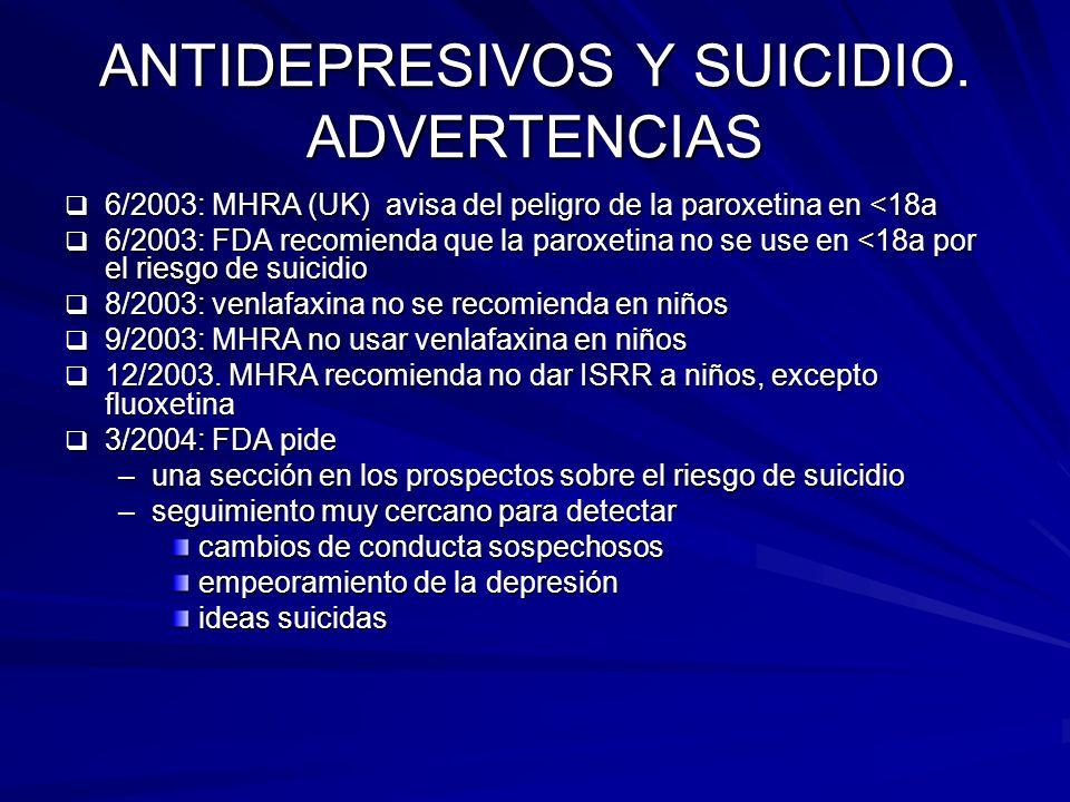 ANTIDEPRESIVOS Y SUICIDIO. ADVERTENCIAS 6/2003: MHRA (UK) avisa del peligro de la paroxetina en <18a 6/2003: MHRA (UK) avisa del peligro de la paroxet