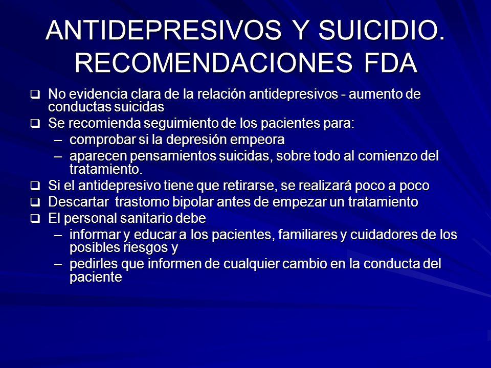 ANTIDEPRESIVOS Y SUICIDIO. RECOMENDACIONES FDA No evidencia clara de la relación antidepresivos - aumento de conductas suicidas No evidencia clara de