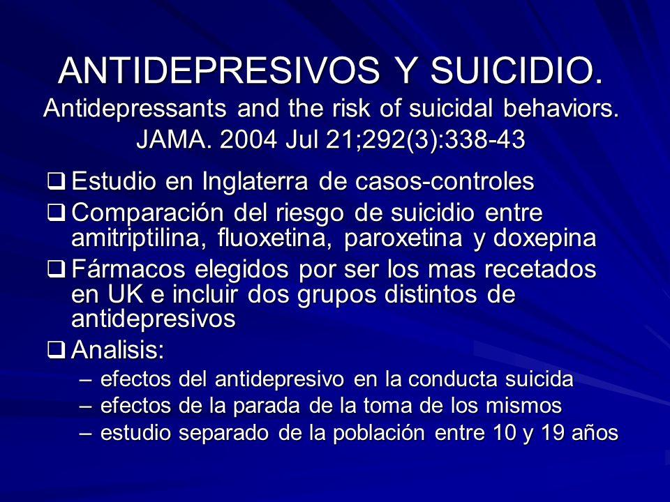 ANTIDEPRESIVOS Y SUICIDIO. Antidepressants and the risk of suicidal behaviors. JAMA. 2004 Jul 21;292(3):338-43 Estudio en Inglaterra de casos-controle