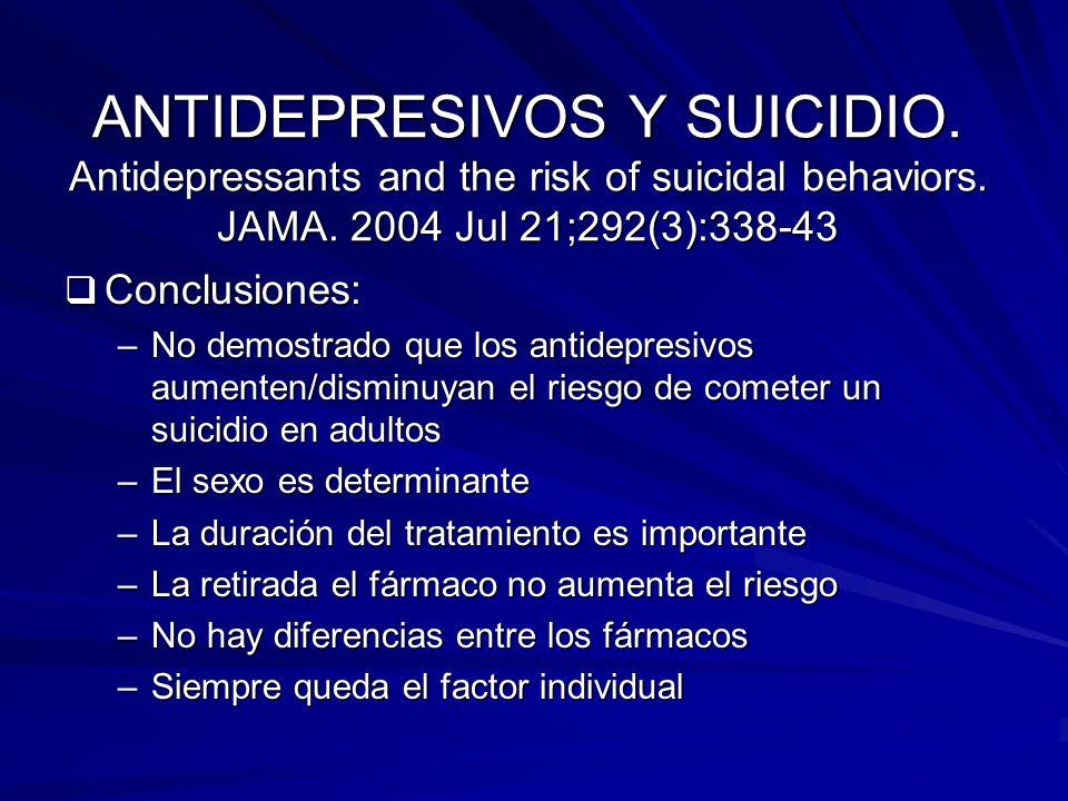 ANTIDEPRESIVOS Y SUICIDIO. Antidepressants and the risk of suicidal behaviors. JAMA. 2004 Jul 21;292(3):338-43 Conclusiones: Conclusiones: –No demostr