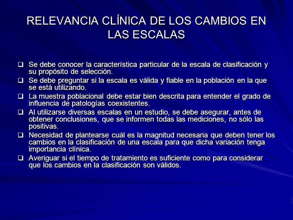 RELEVANCIA CLÍNICA DE LOS CAMBIOS EN LAS ESCALAS Se debe conocer la característica particular de la escala de clasificación y su propósito de selecció