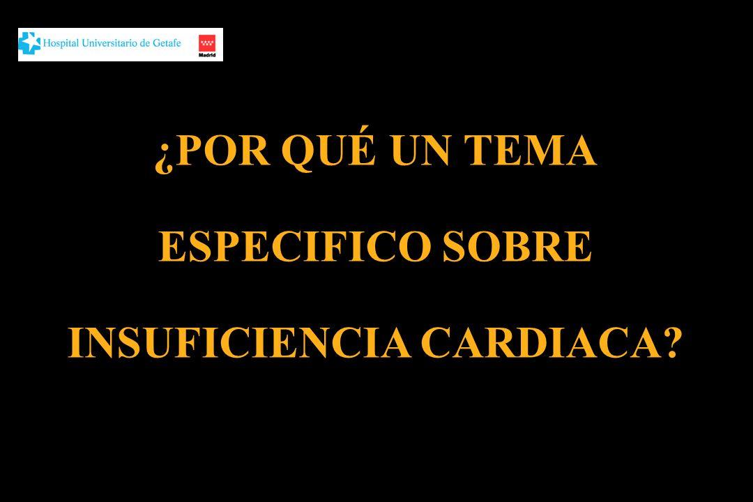 La prevalencia de IC se dobla en cada década a partir de los 40 años alcanzando el 10% en los mayores de 70 años Es la primera causa de hospitalización en mayores de 65 años Más del 80% de pacientes hospitalizados por IC son mayores de 65, el 50% son mayores de 75 y el 20% tiene más de 85 Es la tercera causa de muerte Es una de las principales etiologías asociadas al deterioro funcional no catastrófico en ancianos Rodríguez Artalejo y cols, Rev Esp Cardiol 2004 Rich MW, Am J Geriatr Cardiol 2003 Heiat y cols, Arch Intern Med 2002 Jong y cols, Arch Intern Med 2002 ¿POR QUÉ UN TEMA ESPECIFICO SOBRE IC?