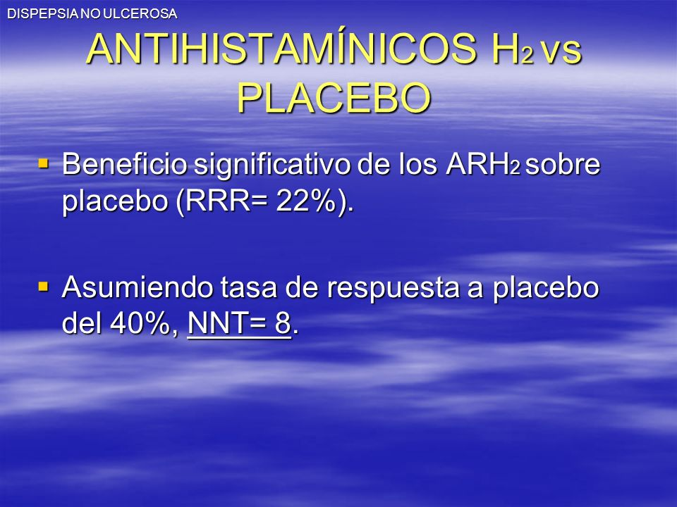 DISPEPSIA NO ULCEROSA ANTIHISTAMÍNICOS H 2 vs PLACEBO Beneficio significativo de los ARH 2 sobre placebo (RRR= 22%).