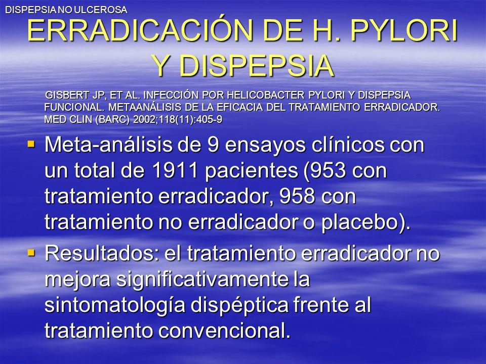 DISPEPSIA NO ULCEROSA ERRADICACIÓN DE H. PYLORI Y DISPEPSIA GISBERT JP, ET AL. INFECCIÓN POR HELICOBACTER PYLORI Y DISPEPSIA FUNCIONAL. METAANÁLISIS D