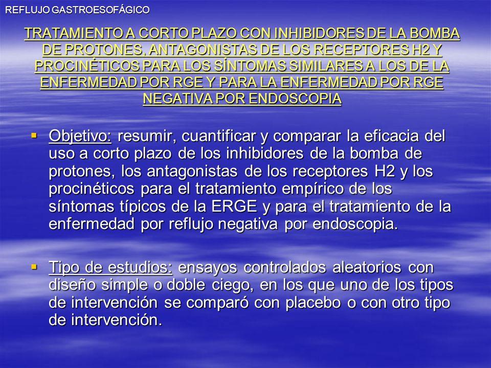REFLUJO GASTROESOFÁGICO TRATAMIENTO A CORTO PLAZO CON INHIBIDORES DE LA BOMBA DE PROTONES, ANTAGONISTAS DE LOS RECEPTORES H2 Y PROCINÉTICOS PARA LOS S