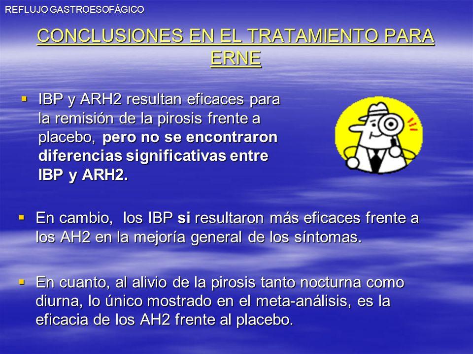 REFLUJO GASTROESOFÁGICO CONCLUSIONES EN EL TRATAMIENTO PARA ERNE IBP y ARH2 resultan eficaces para la remisión de la pirosis frente a placebo, pero no