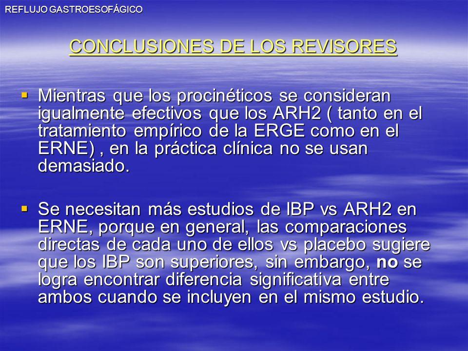 REFLUJO GASTROESOFÁGICO CONCLUSIONES DE LOS REVISORES Mientras que los procinéticos se consideran igualmente efectivos que los ARH2 ( tanto en el trat