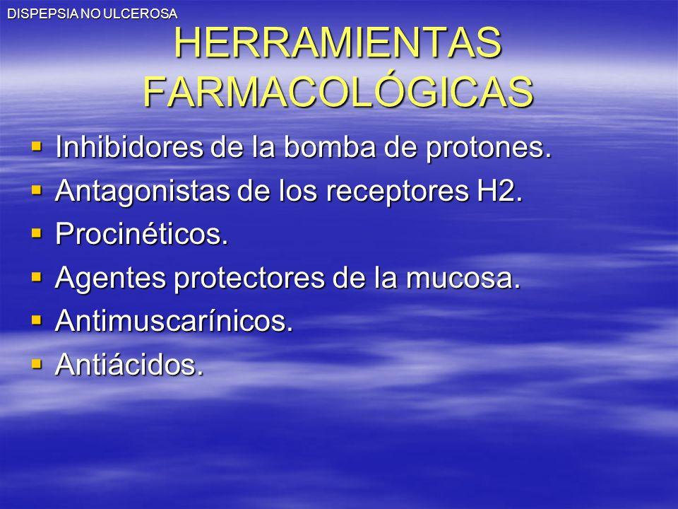 HERRAMIENTAS FARMACOLÓGICAS Inhibidores de la bomba de protones. Inhibidores de la bomba de protones. Antagonistas de los receptores H2. Antagonistas
